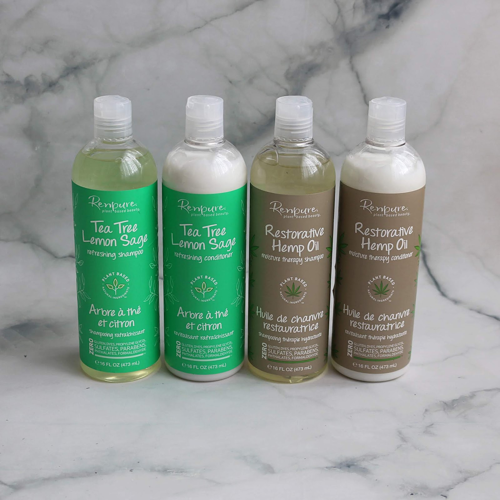 Renpure Tea Tree Lemon Sage Refreshing Shampoo Conditioner Restorative Hemp Oil Moisture Therapy