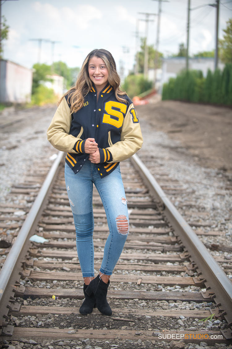 Saline High School Girls Train Tracks Senior Portraits by SudeepStudio.com Ann Arbor Senior Pictures Photographer