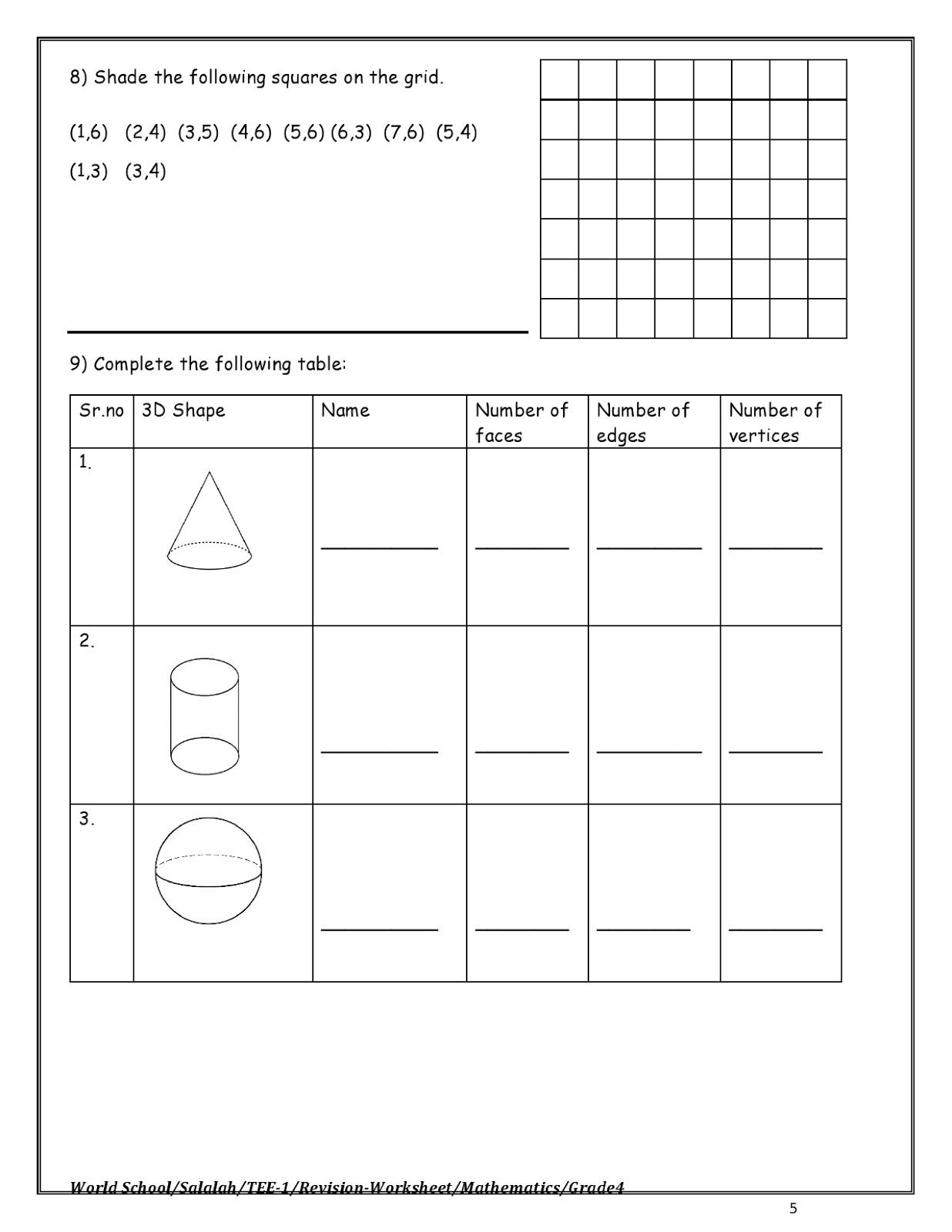 Birla World School Oman Revision Worksheet For Grade 4 02