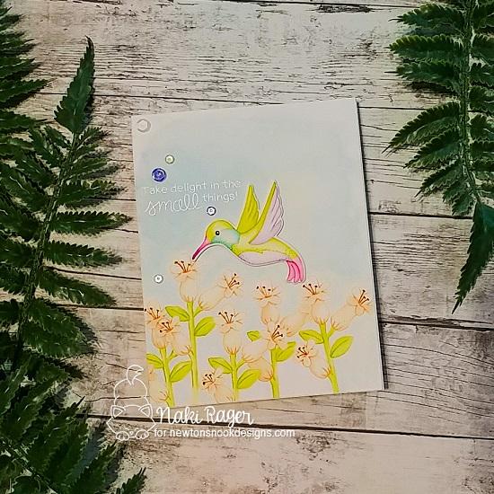 Hummingbird Card by Nakaba Rager   Hummingbird Stamp Set by Newton's Nook Designs #newtonsnook #handmade