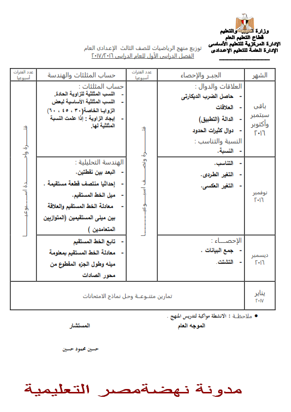 جدول توزيع والخطة الزمنية لمنهج الرياضيات للصف الثالث الاعدادى الفصلين الدراسيين الاول والثانى 2017