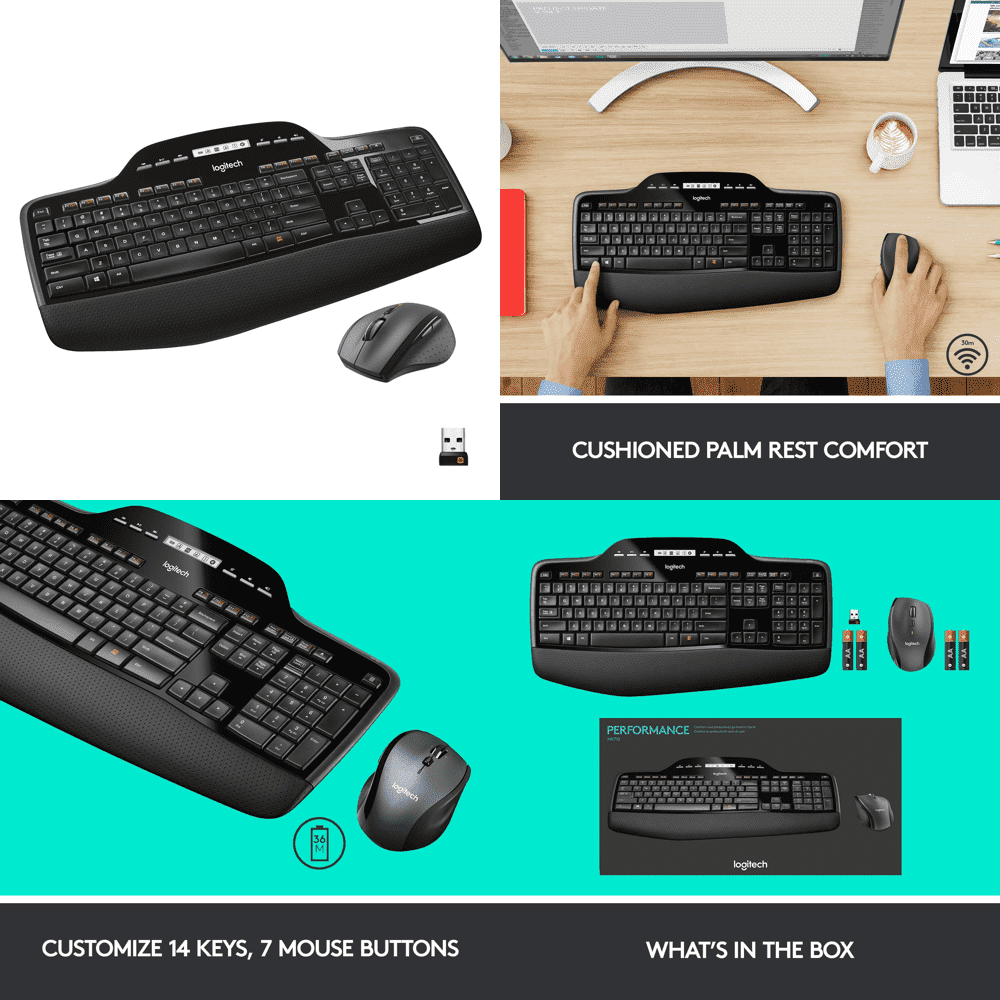 The image of the Logitech MK710 wireless keyboard and mouse combo. Moreover, the combo has 3 years of warranty with 3 years of the battery life. And, the color is black.