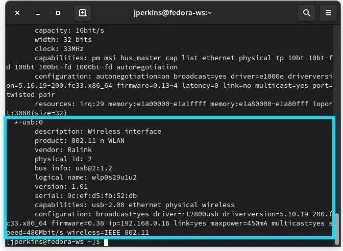 Linux Wifi لا يعمل Lshw