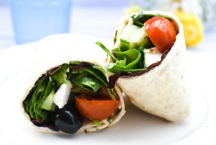 Vegan Greek Salad Lunch Wrap