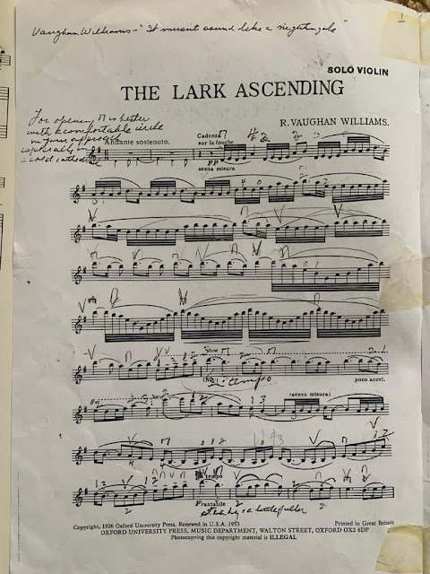 The Lark Ascending violin part with Frederick Grinke's notes (photo by Janice Graham)