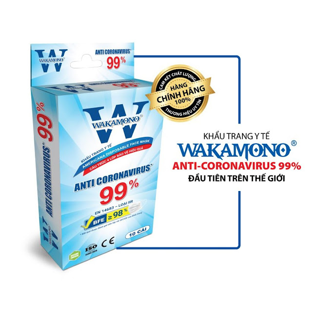 KHẨU TRANG WAKAMONO DIỆT 99% VIRUS NCOV