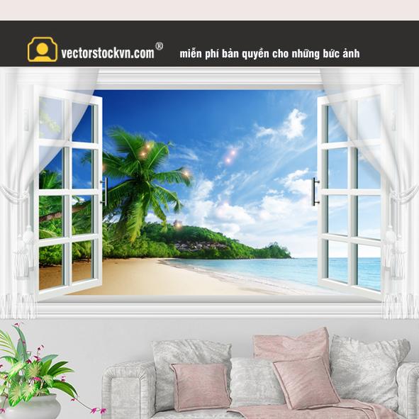 Tranh Cửa Sổ Cây Dừa bãi biển
