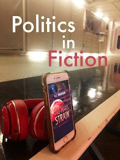 Politics in Fiction type over image of The Mars Strain audiobook on cell phone screen resting beside red Beats headphones on NASA Space Center walkway.
