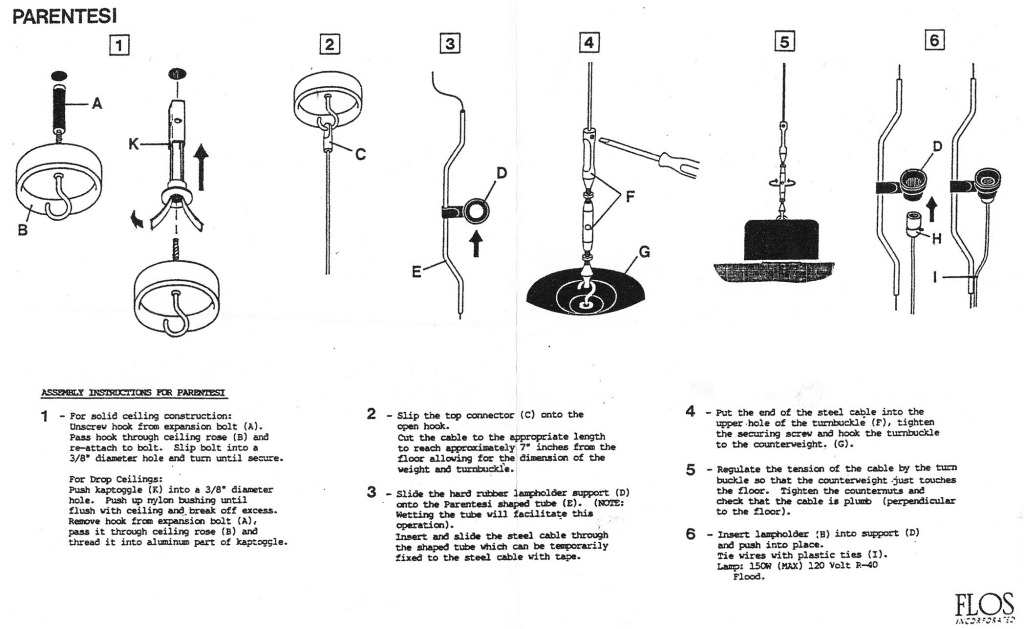 how to install the parentesi lamp by flos lighting | flos ... wiring a lamp instructions wiring a lamp cord
