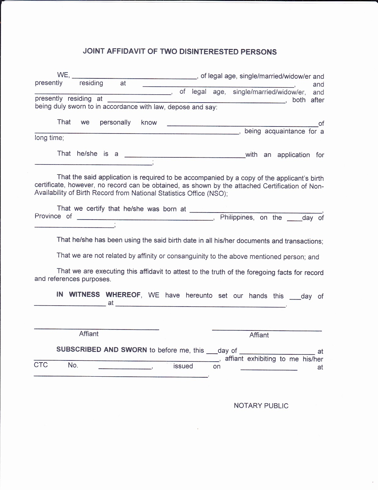 Doc400518 Sample Affidavit Sample Affidavit Free Sworn – Affidavit of Truth Template