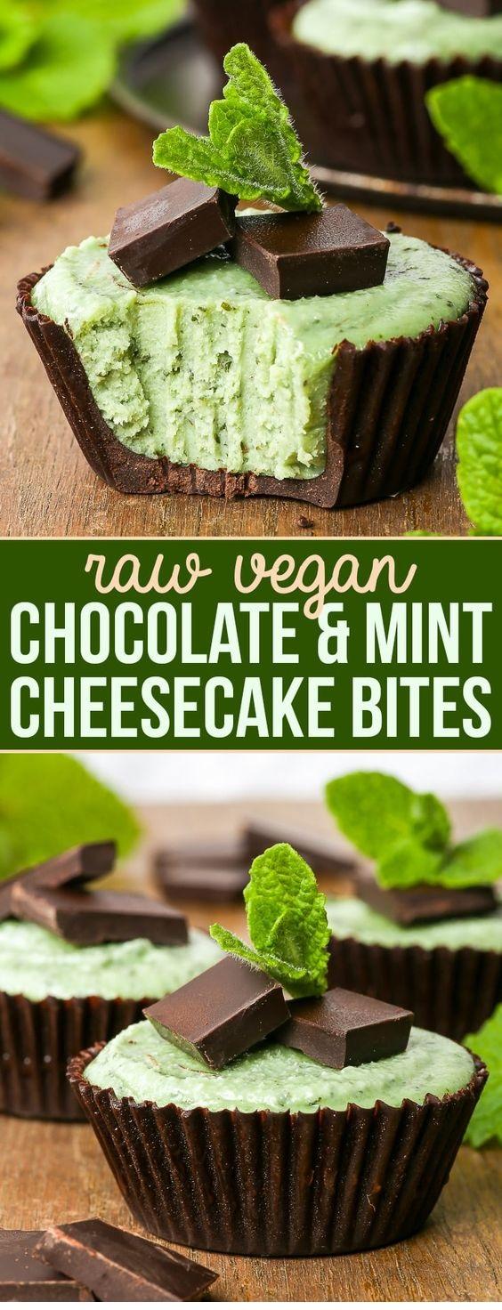 Chocolate & Mint Raw Vegan Cheesecake Bites