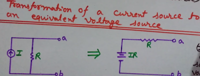 Current Source to Voltage Source  Conversion, source transformation