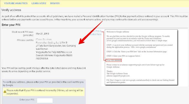 Penulisan ALAMAT Request PIN Adsense Yang benar