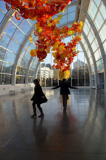 Dancing with Husband under Chihuly Glass Art