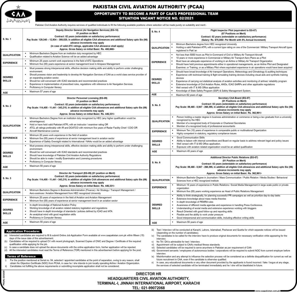 Pakistan Civil Aviation Authority (PCAA) Jobs 2021 For Flight Inspector Pilot, Director Air Transport & more
