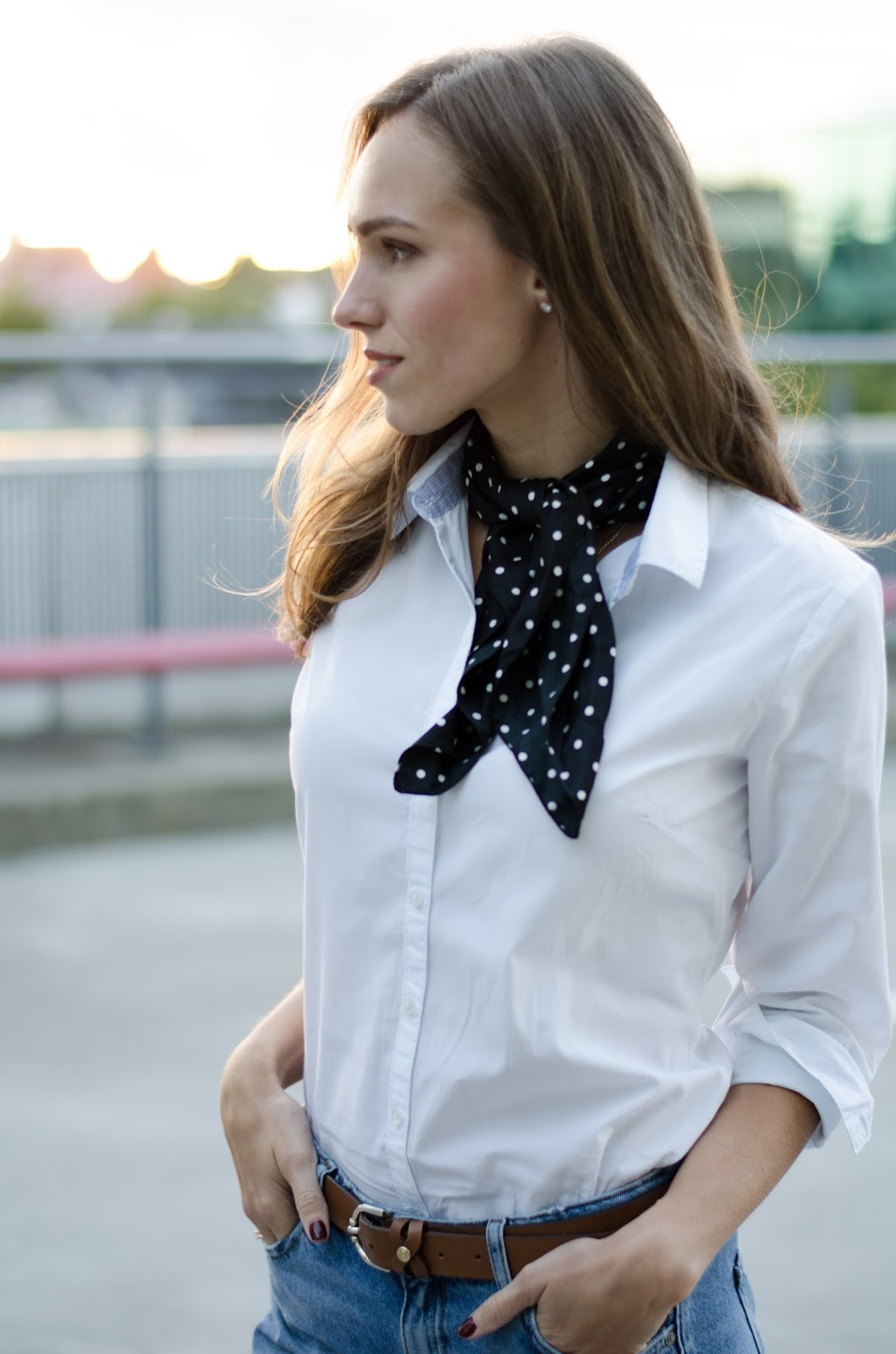 black dotted bandana neck scarf white shirt outfit