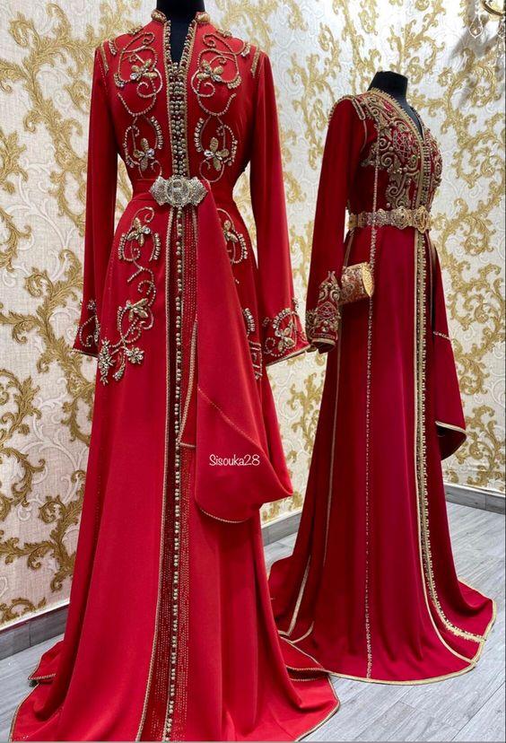 caftan rouge mariage romeo haute couture