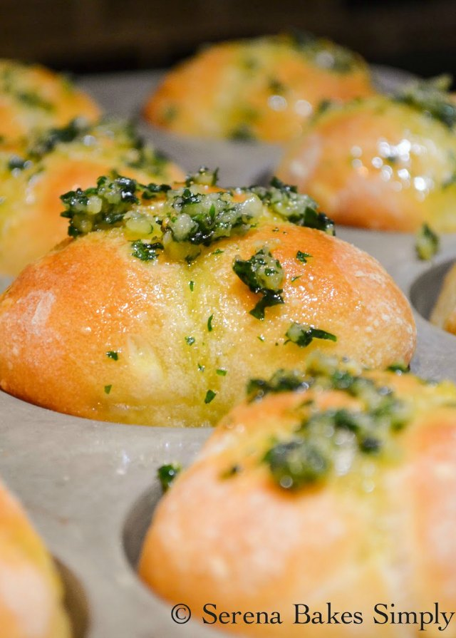 Best Garlic French Bread Dinner Rolls Recipe covered with garlic butter herb is a holiday must make from Serena Bakes Simply From Scratch.