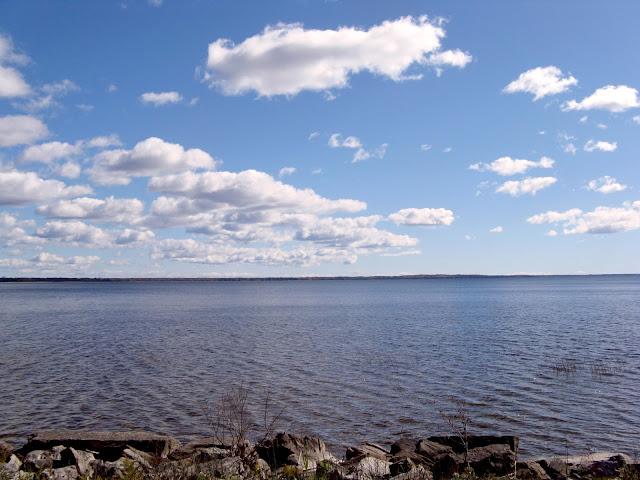 Blue sky, blue water, clouds, near & far shore