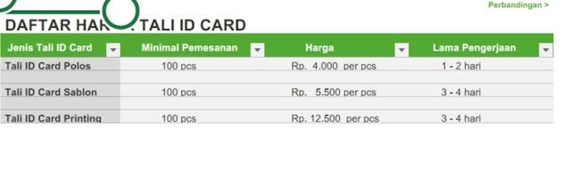 Harga Cetak Tali ID Card Murah Di Jakarta
