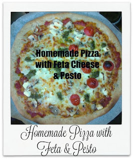 This homemade pizza is made from scratch.  It is topped with full of flavour feta cheese and vegetarian basil pesto.