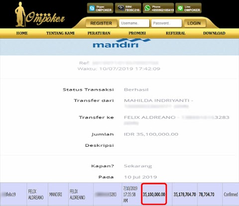 Selamat Kepada Member Setia Ompoker WD Rp 35.100.000