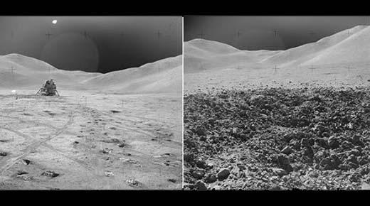 ¿Las imágenes de la luna de la NASA con el mismo fondo prueban que los aterrizajes de Apolo son FALSOS?