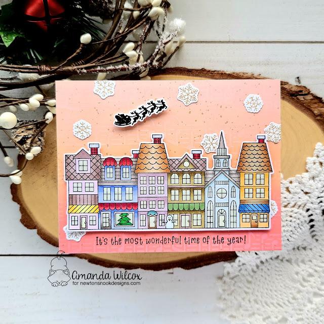 Main Street Christmas Card by Amanda Wilcox | Main Street Christmas Stamp Set and Music Stencil by Newton's Nook Designs #newtonsnook #handmade