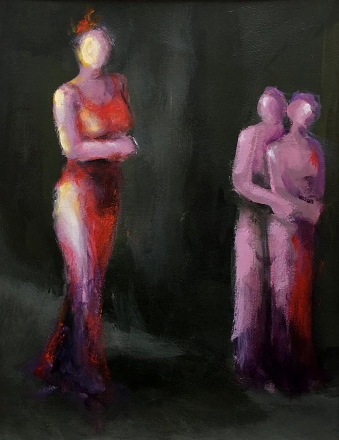 Нечёткие, безликие фигуры на абстрактном фоне
