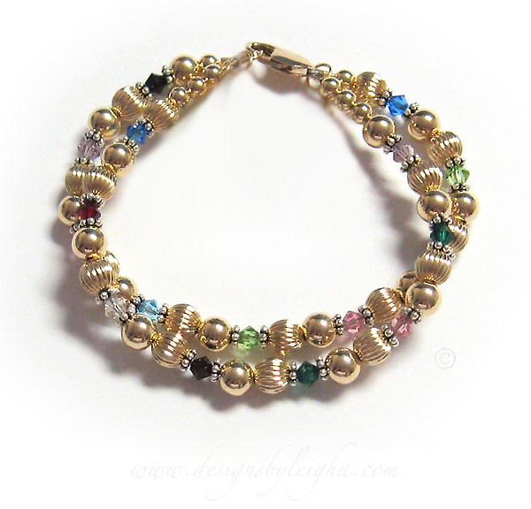 Gold Grandma Generations Bracelet with 2 strings of  birthstone for kids and grandkids and great-grand kids