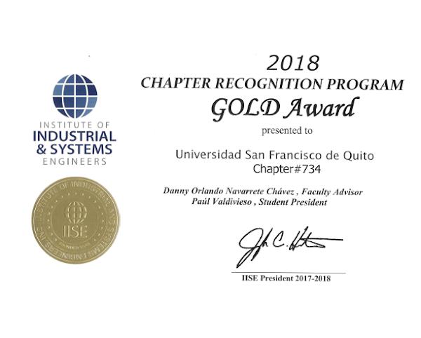 Capítulo estudiantil del Instituto de Ingenieros Industriales de la USFQ obtuvo un Gold Award