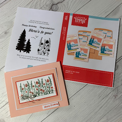 Stamp Case Insert and greeting card idea using Here's To You March 2021 Paper Pumpkin Kit