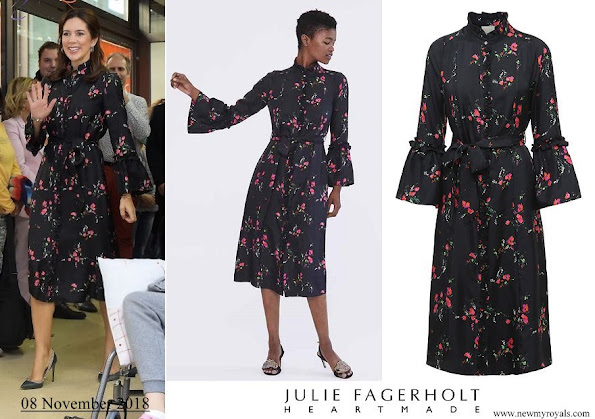 Crown Princess Mary wore Heartmade Harin black flower print silk dress