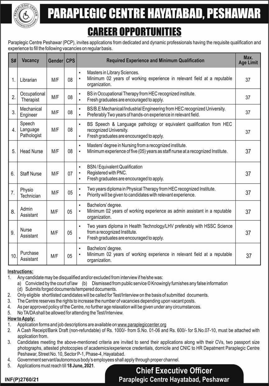 Latest Paraplegic Centre Peshawar PCP Jobs 2021