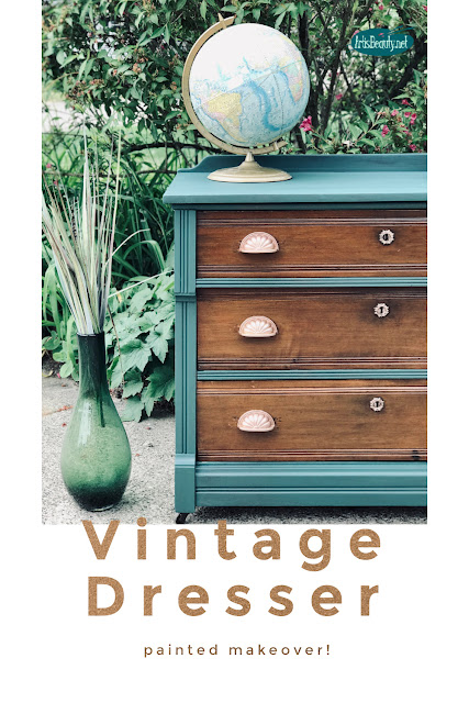 Vintage Dresser Painted makeover using general finishes westminster green milk paint makeover
