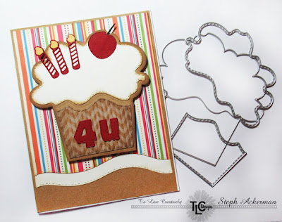 It's the Cherry On Top Die!  The rainbow of bright and fun colors used to excentuate the cupcake shaped focal point on this greeting card by a designer at TLCDesigns.shop
