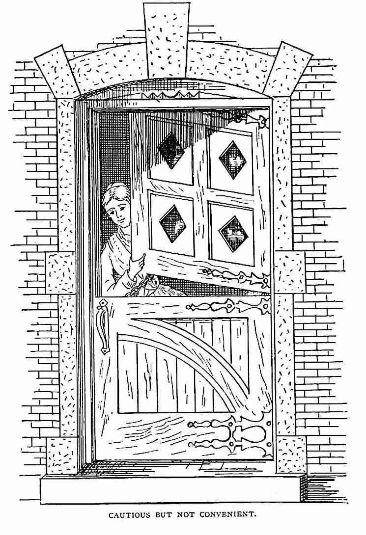 a 1878 two-part door as a deterrent to home invasion, an illustration