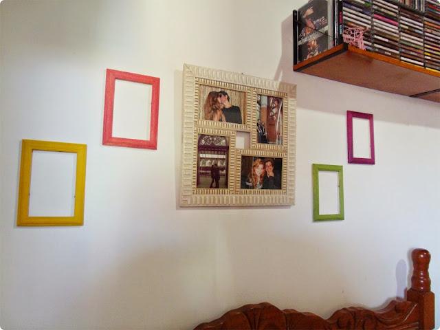 molduras coloridas, diy moldura colorida, diy para decorar quarto, blog de casal