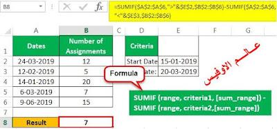 استخدام الدالة  Sumif   للجمع بين تاريخين    Excel Sumif  Between Two Dates