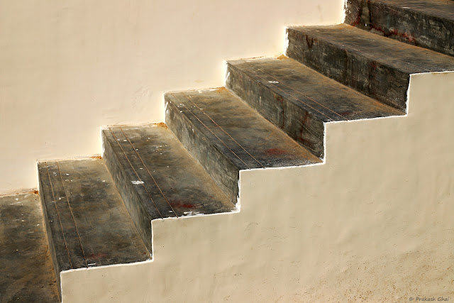 A Minimal Art Photograph of a Staircase at Akshay Patra, Jaipur.