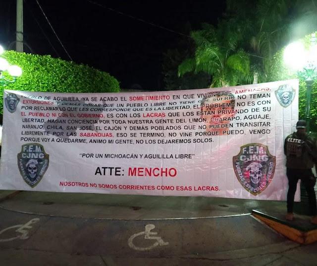 """Fotos: """"Vengo porque voy a quedarme, Mi pelea es con Carteles Unidos"""", El Mencho líder del CJNG manda mensaje mediante Narcomanta en Aguililla; Michoacán"""