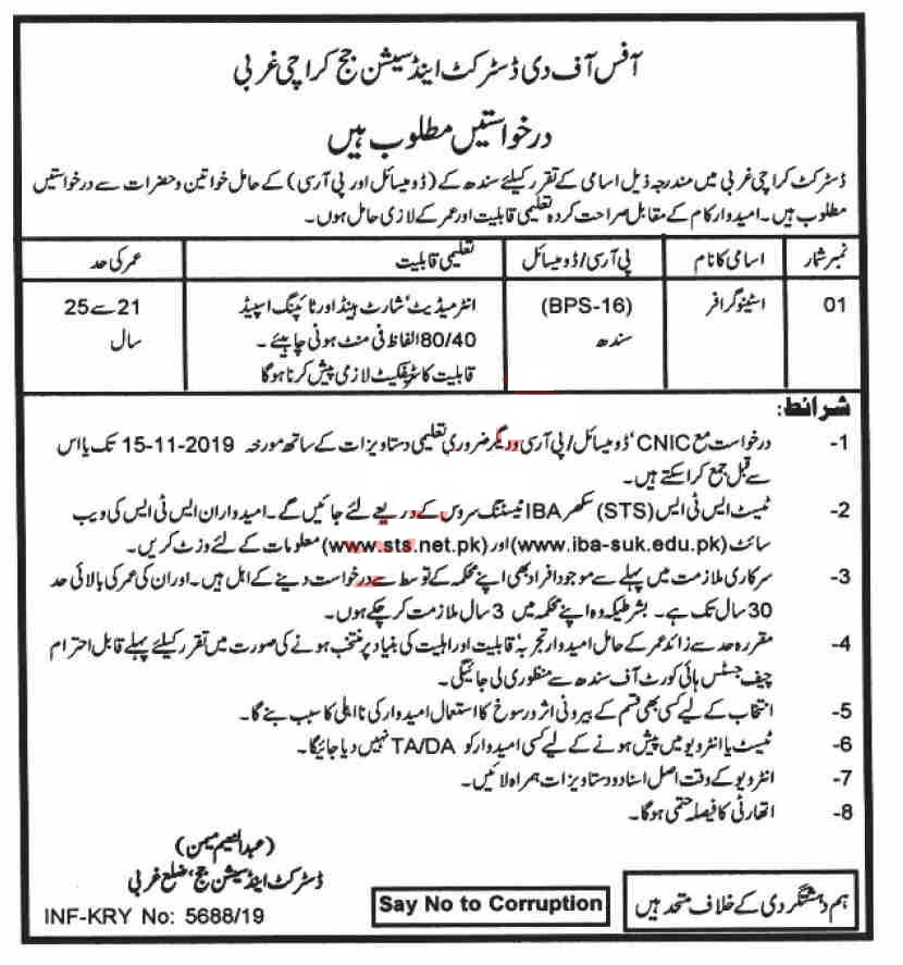 District & Session Court Karachi Jobs for Stenographer