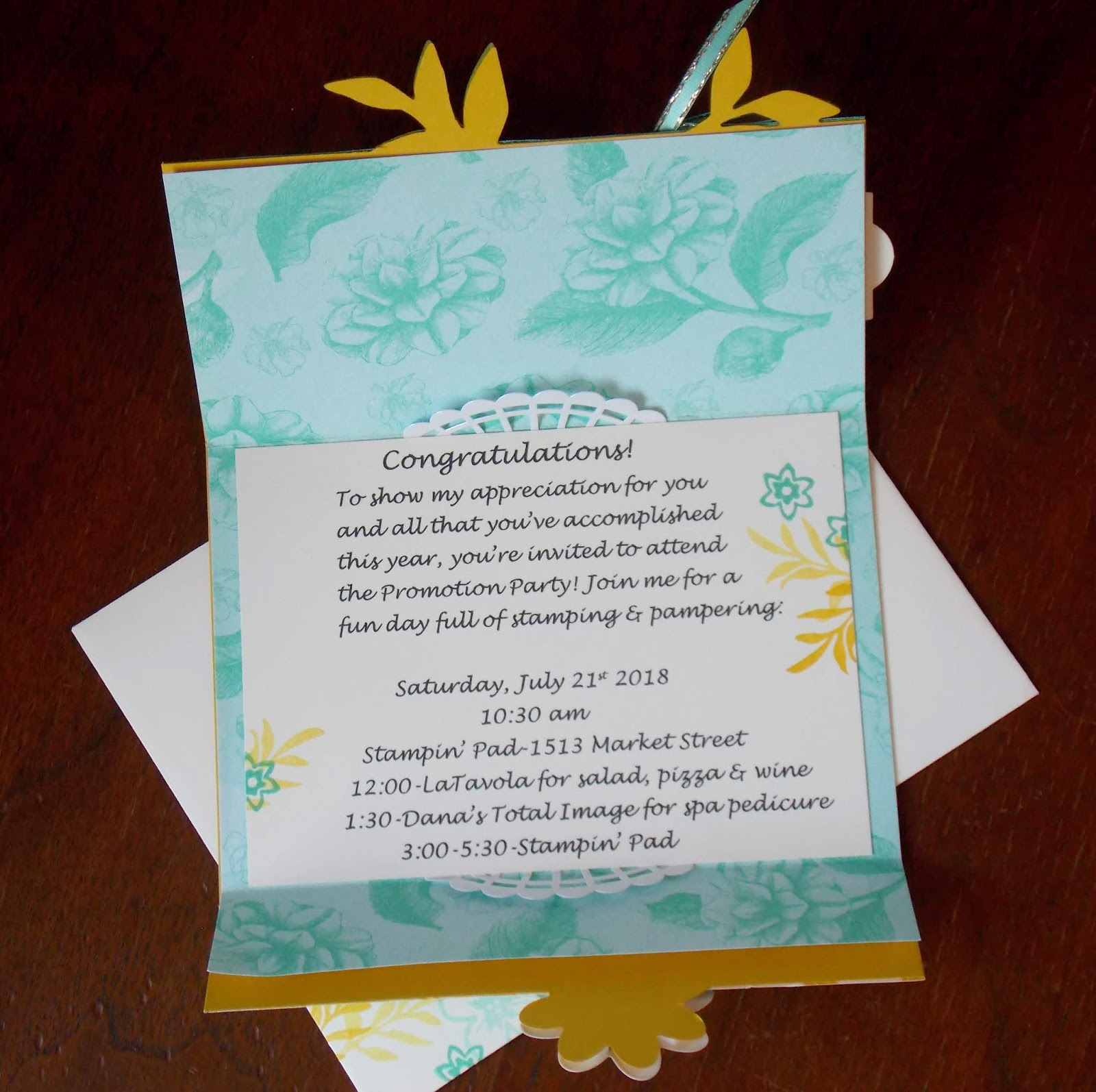Lauras works of heart promotion party invitation i love the fancy fold that the gatefold blossoms framelits create perfect for this fancy invitation i lined the inside with dsp as well and tucked pieces stopboris Choice Image