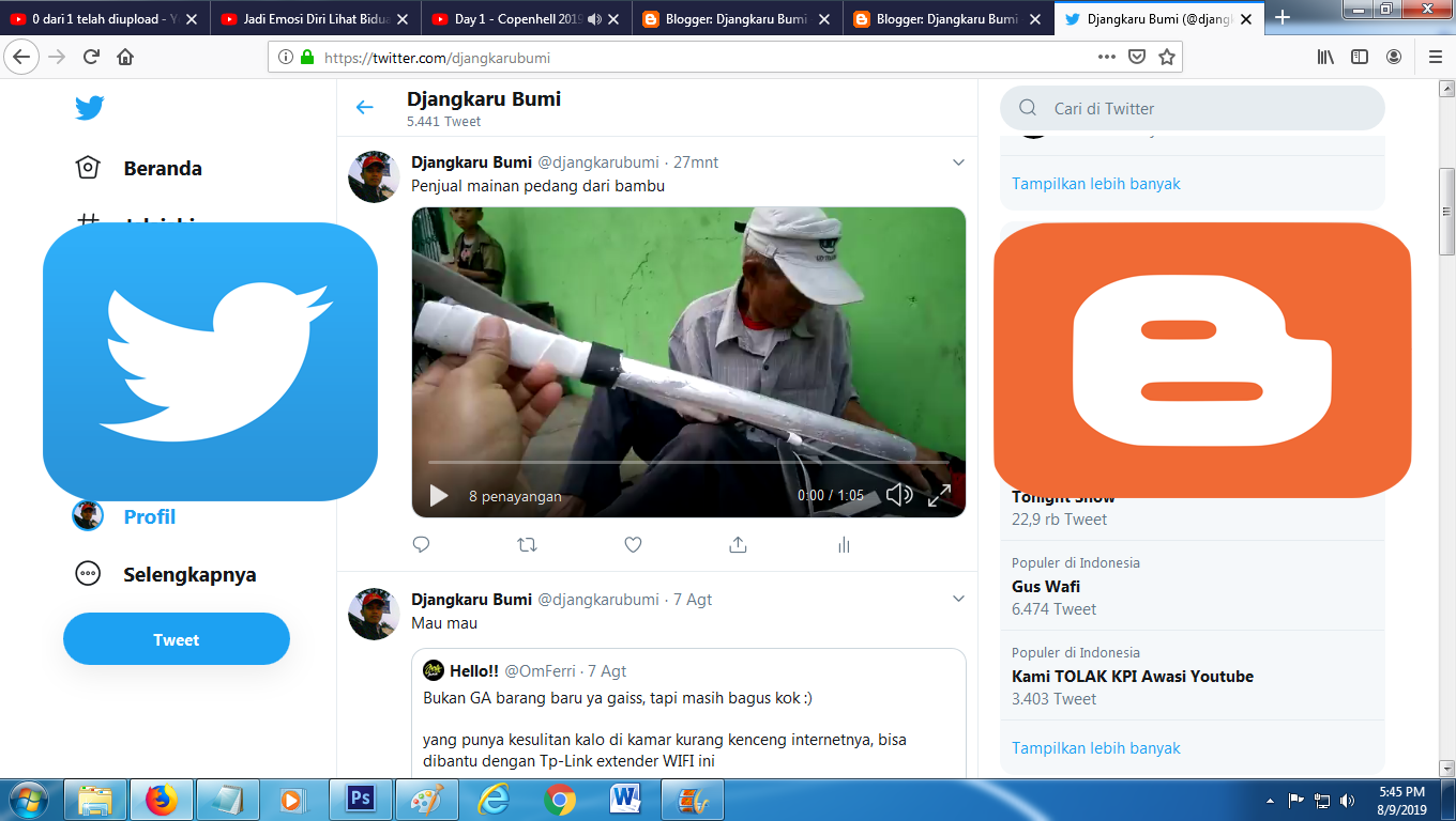 Share Video Twitter ke Blog