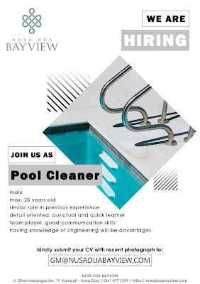 Lowongan pekerjaan Nusa Dua Bay View pool cleaner 2020