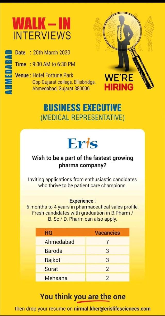 Eris life sciences | Walk-in for Medical Representatives at Ahmedabad on 20 Mar 2020