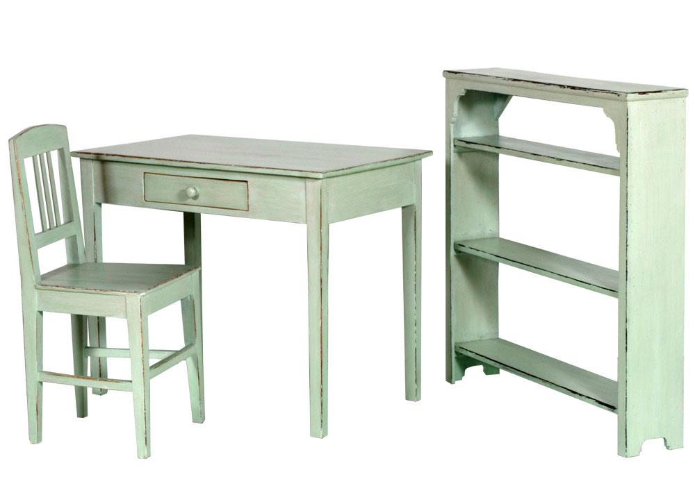 Studio shabby chic decapato scrittoio sedia libreria verde for Mobili da studio di design
