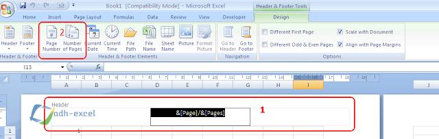 header & footer tools untuk halaman excel