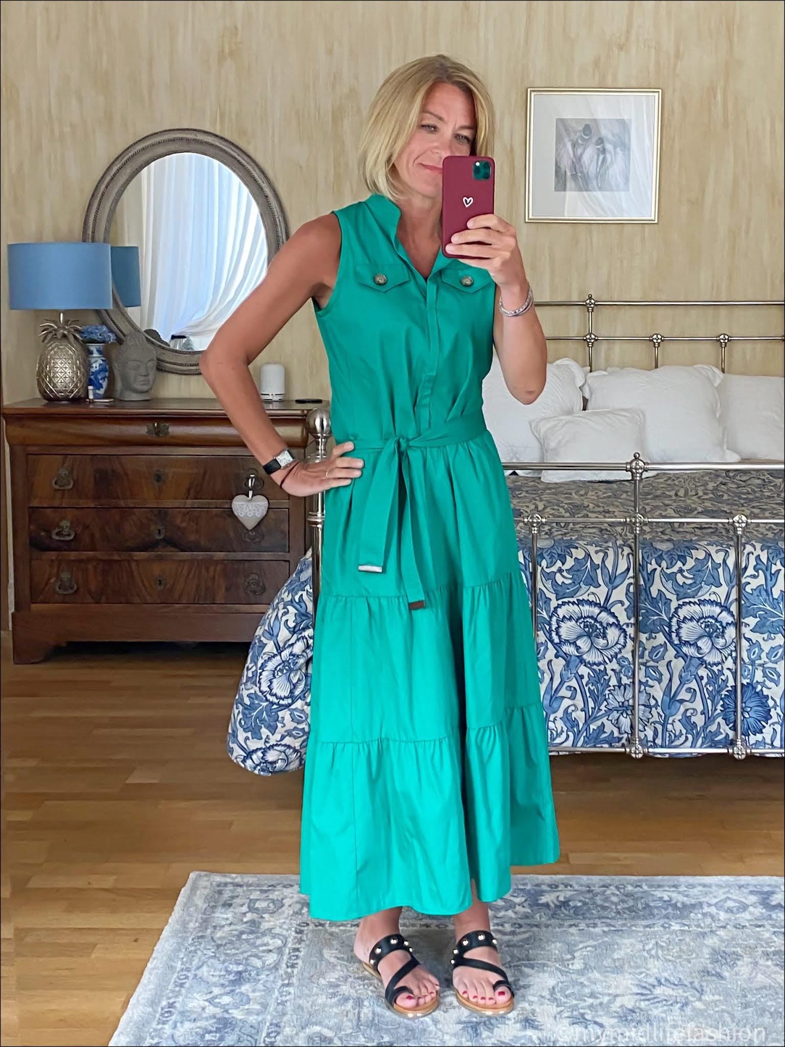 my midlife fashion, Marc cain shift dress, Carvela karafe sandals