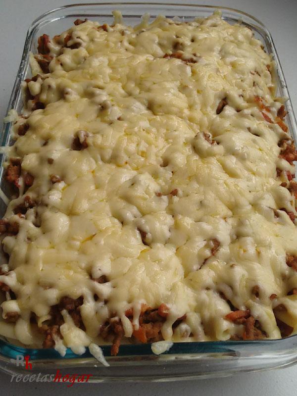 Deliciosos macarrones con carne y malta